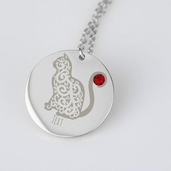 Personalized Cat Pendant with Birth Stone Engraved Text
