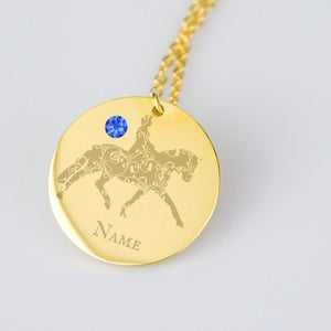 Ornate Dressage Horse Personalized Necklace Birth Stone Engraved Text