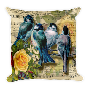 Blue Bird Vintage Ephermera Sheet Music Pillow