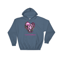 I Love Arabians Pink Arabian Heart Hooded Sweatshirt S - 2XL