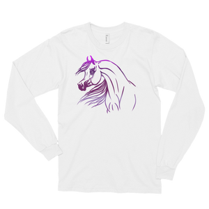 Arabian horse purple drawing Long sleeve t-shirt (unisex) S - 2xl