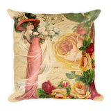 Vintage Rose Lady Pillow