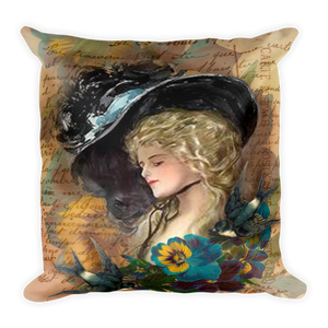Victorian Lady and Sparrows Pillow