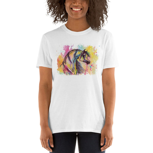 Arabian Horse Watercolor Painting Art Short-Sleeve Unisex T-Shirt