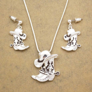 Silver Plated Cowgirl Hat & Boots Dangle Earrings Necklace Set Jewelry