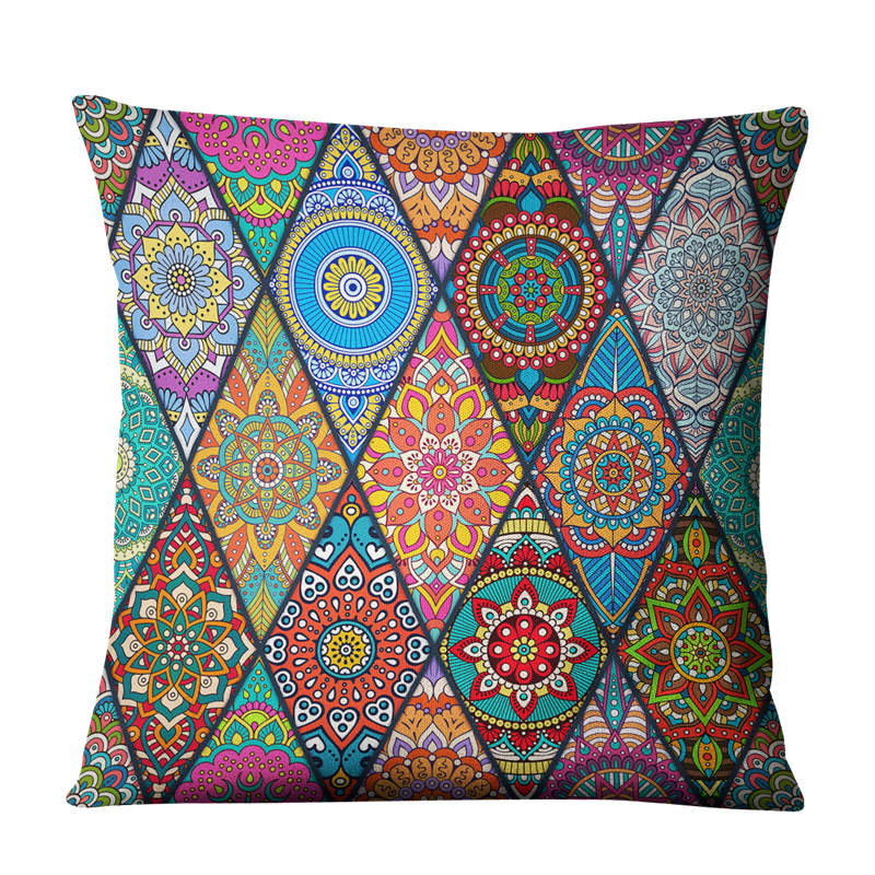 India Mandala Decorative Cushion Cover, Meditation Pillow, 17x17inch
