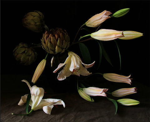 White Lilies With Artichokes