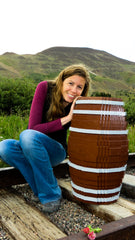 Meghan with a Custom Wine Barrel We Made as a Commission