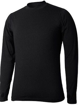 New Mens Terramar Thermolator II Base Layer Crew Shirt - Black - MEDIUM