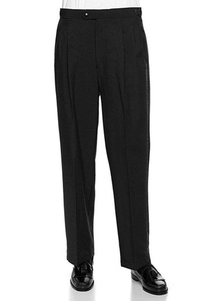 Men's Black, Pleated Front, Comfort-Waist Tuxedo Pants with Satin Stripe