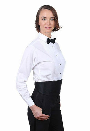 Women's White, Lay Down Collar, Long Sleeve Tuxedo Shirt with ¼″ Pleats