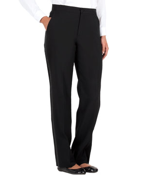 Women's Black, Flat Front, Tuxedo Pants with Satin Stripe