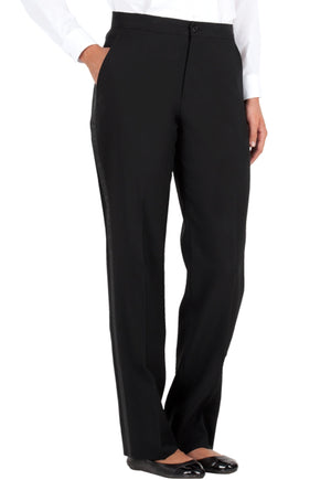 Women's Black, Flat Front, Comfort-Waist Tuxedo Pants with Satin Stripe