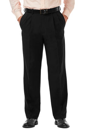 Men's Black, Pleated Front, Comfort-Waist Dress Pants