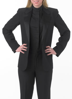 Women's Black, Single Breasted, 1-Button, Satin Notch Lapel Tuxedo Jacket