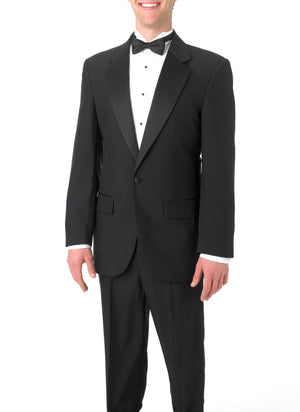 Boy's Black, Single Breasted, 1-Button, Satin Notch Lapel Tuxedo Jacket