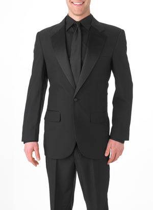 Men's Black, Single Breasted, 1-Button, Satin Notch Lapel Tuxedo Jacket