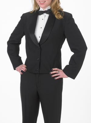 Women's Black Eton Jacket with Black Matte Shawl Lapel