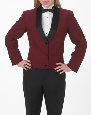 Women's Burgundy Eton Jacket with Black Satin Shawl Lapel