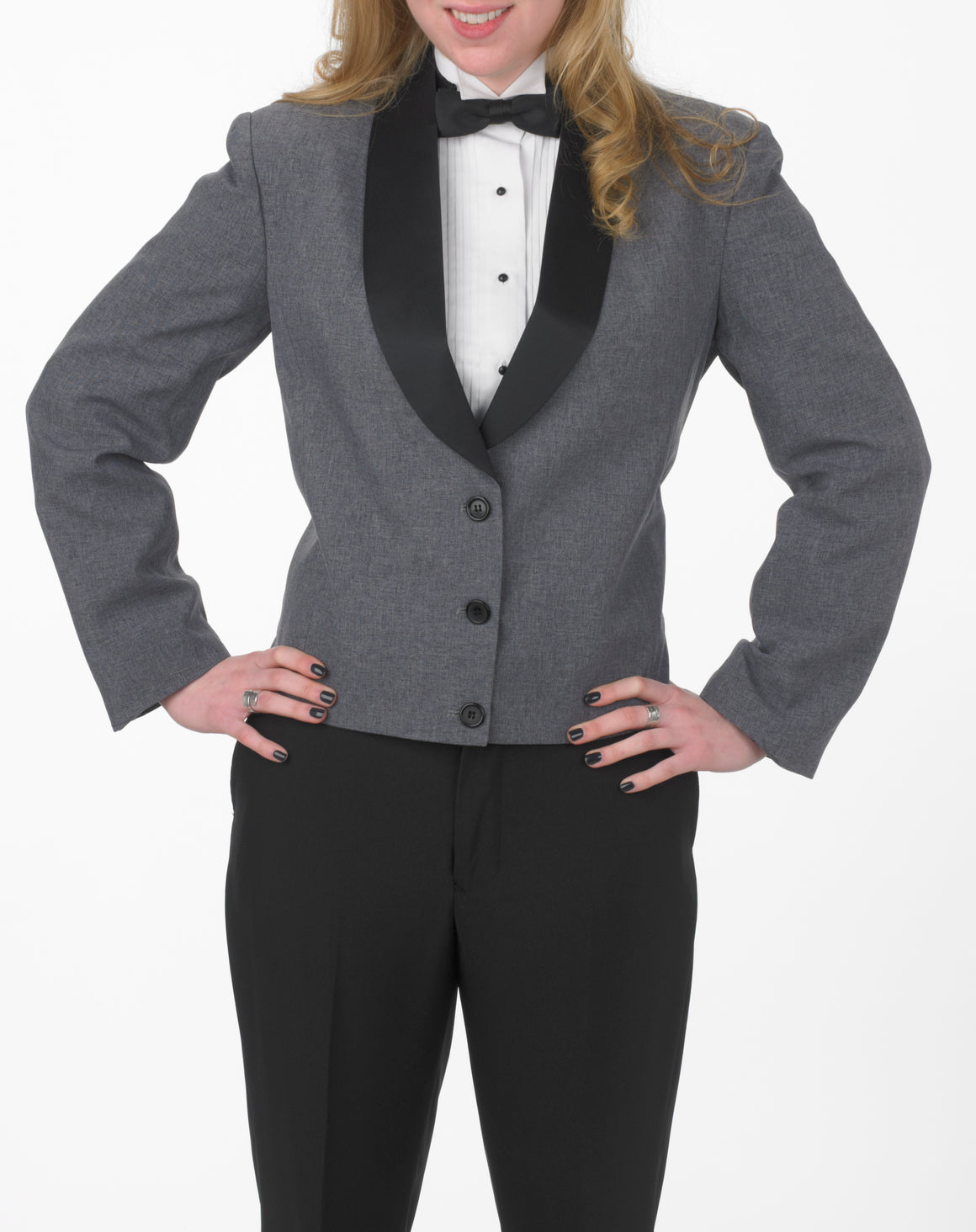 Women's Heather Gray Eton Jacket with Black Satin Shawl Lapel