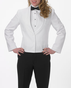 Women's White Eton Jacket with White Cloth Shawl Lapel