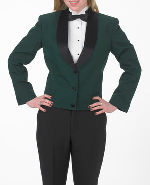 Women's Hunter Green Eton Jacket with Black Satin Shawl Lapel