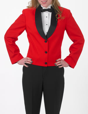 Women's Red Eton Jacket with Black Satin Shawl Lapel