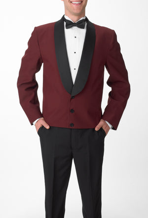 Men's Burgundy Eton Jacket with Black Satin Shawl Lapel