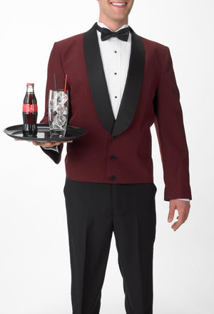 A waiter serving a delicious cold beverage in his Burgundy Eton Jacket