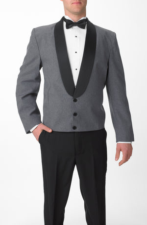 Men's Heather Gray Eton Jacket with Black Satin Shawl Lapel