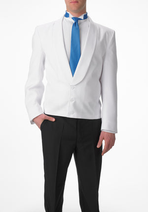 Men's White Eton Jacket with White Matte Shawl Lapel