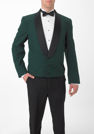 Men's Hunter Green Eton Jacket with Black Satin Shawl Lapel