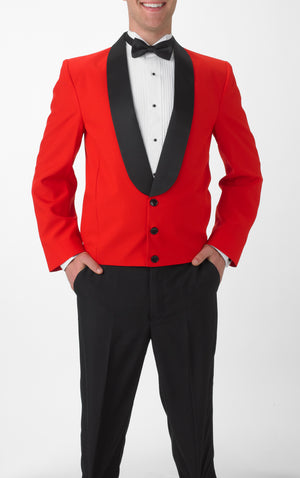 Men's Red Eton Jacket with Black Satin Shawl Lapel