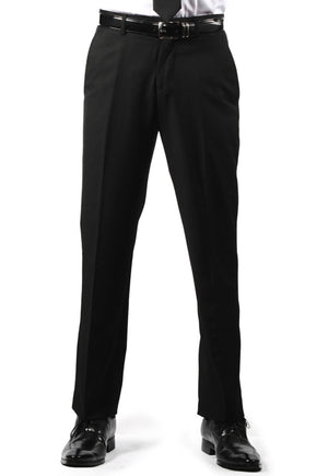 Men's Black, Flat Front, Comfort-Waist Dress Pants