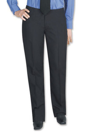 Women's Black, Flat Front, Contemporary Low Rise Dress Pants