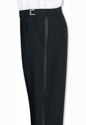Boy's Black, Adjustable-Waist, Pleated Front Tuxedo Pants with Satin Stripe