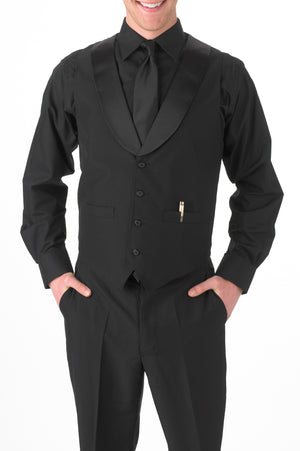 Men's Black Satin Shawl Lapel Vest