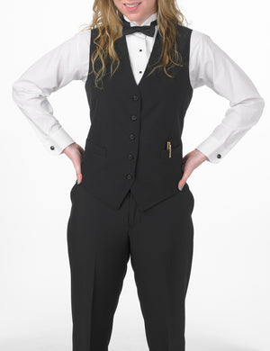 Women's Black, Extended (Longer), Full Back Vest with Inside and Outside Pockets