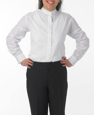 Women's White, Banded Collar, Long Sleeve Dress Shirt