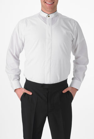 Men's White, Banded Collar, Long Sleeve Dress Shirt with Black Piping