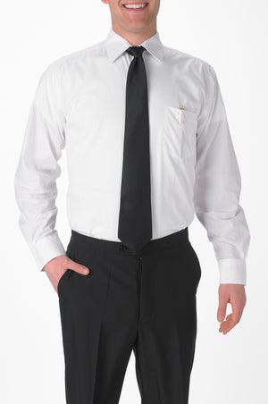 Men's White, Long Sleeve Dress Shirt with Chest Pocket