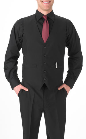 Men's Black, Long Sleeve Dress Shirt with Chest Pocket