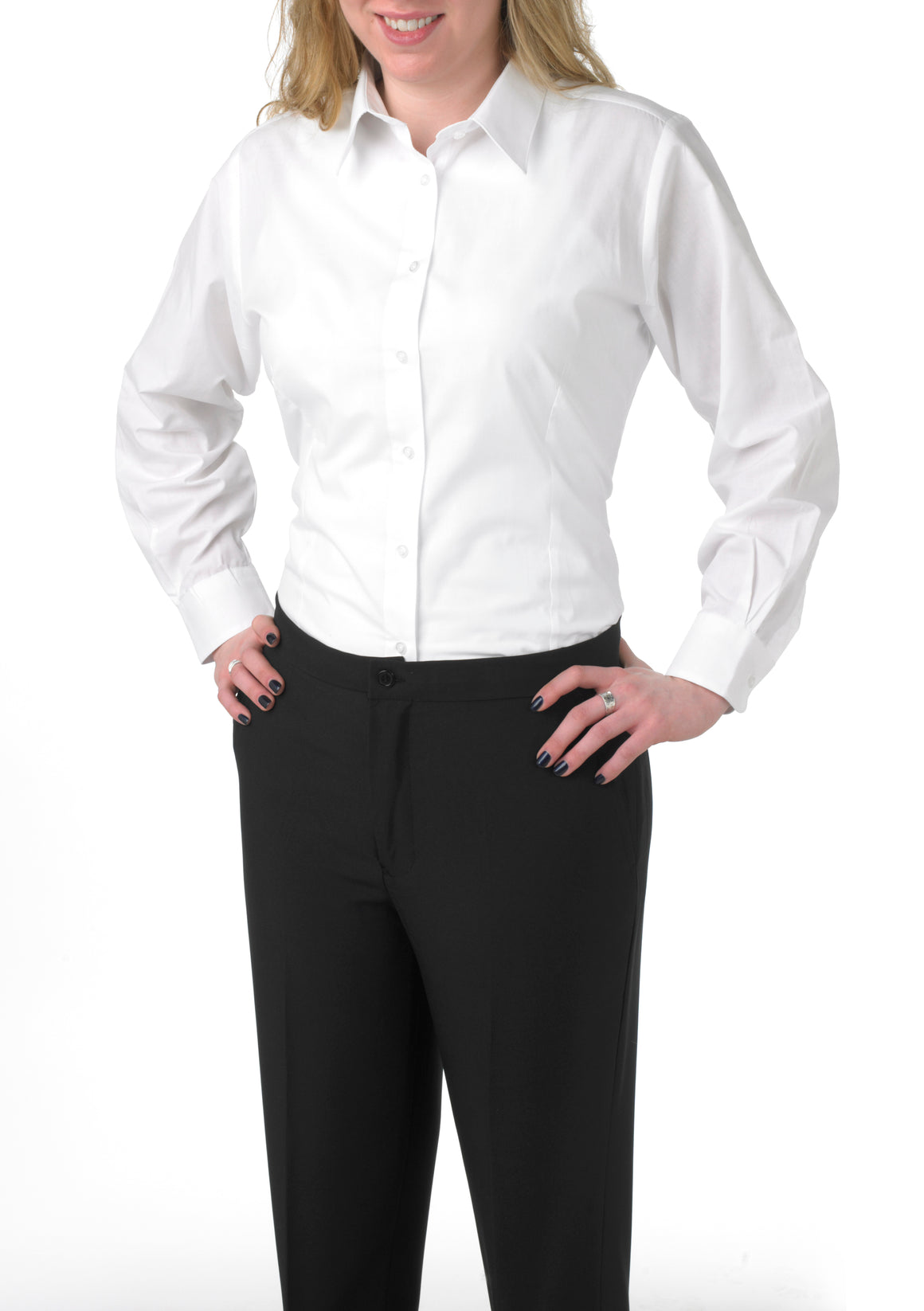 Women's White, Long-Sleeve Form-Fitted Dress Shirt
