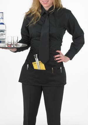 Women's Black, Long-Sleeve Form-Fitted Dress Shirt