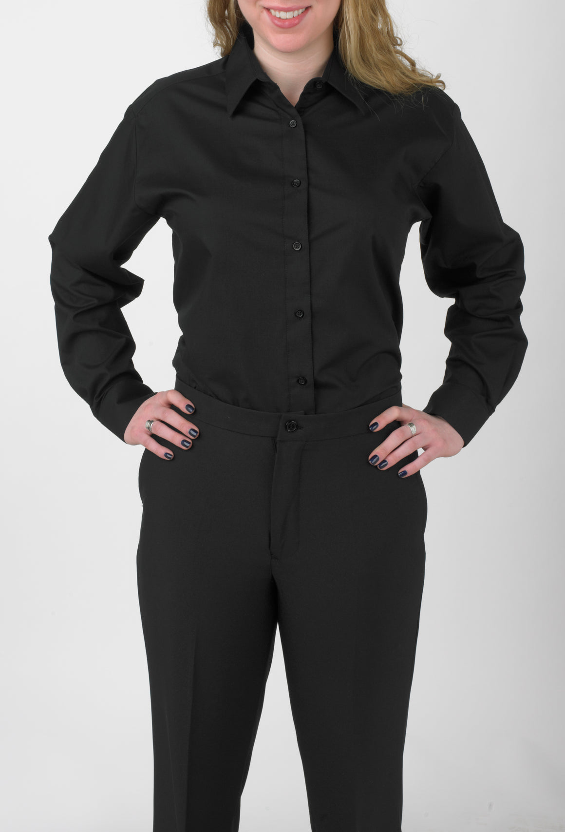 Women's Black, Lay Down Collar, Long Sleeve Dress Shirt