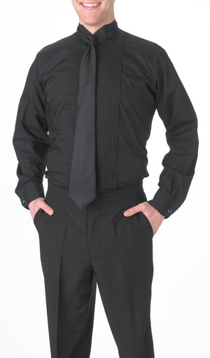 Men's Black, Wing Tip Collar, Long Sleeve Tuxedo Shirt with ¼″ Pleats