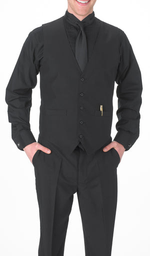 Boy's Black, Wing Tip Collar, Long Sleeve Tuxedo Shirt with ¼″ Pleats