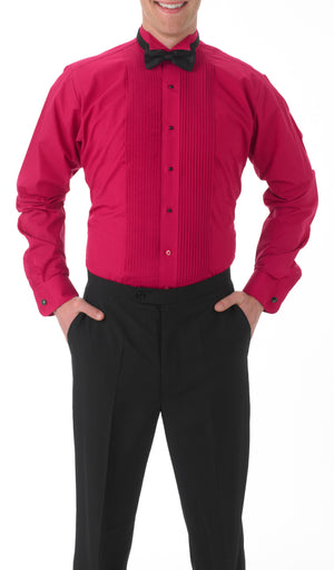 Men's Fuchsia, Wing Tip Collar, Long Sleeve Tuxedo Shirt with ¼″ Pleats