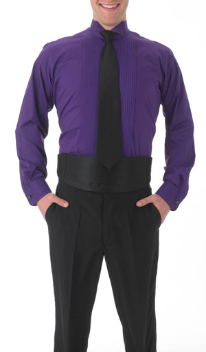 Men's Purple, Wing Tip Collar, Long Sleeve Tuxedo Shirt with ¼″ Pleats