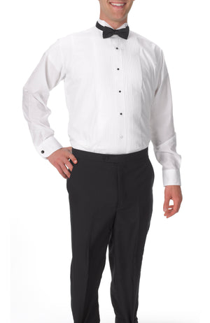 Men's White, Wing Tip Collar, Long Sleeve Tuxedo Shirt with ¼″ Pleats